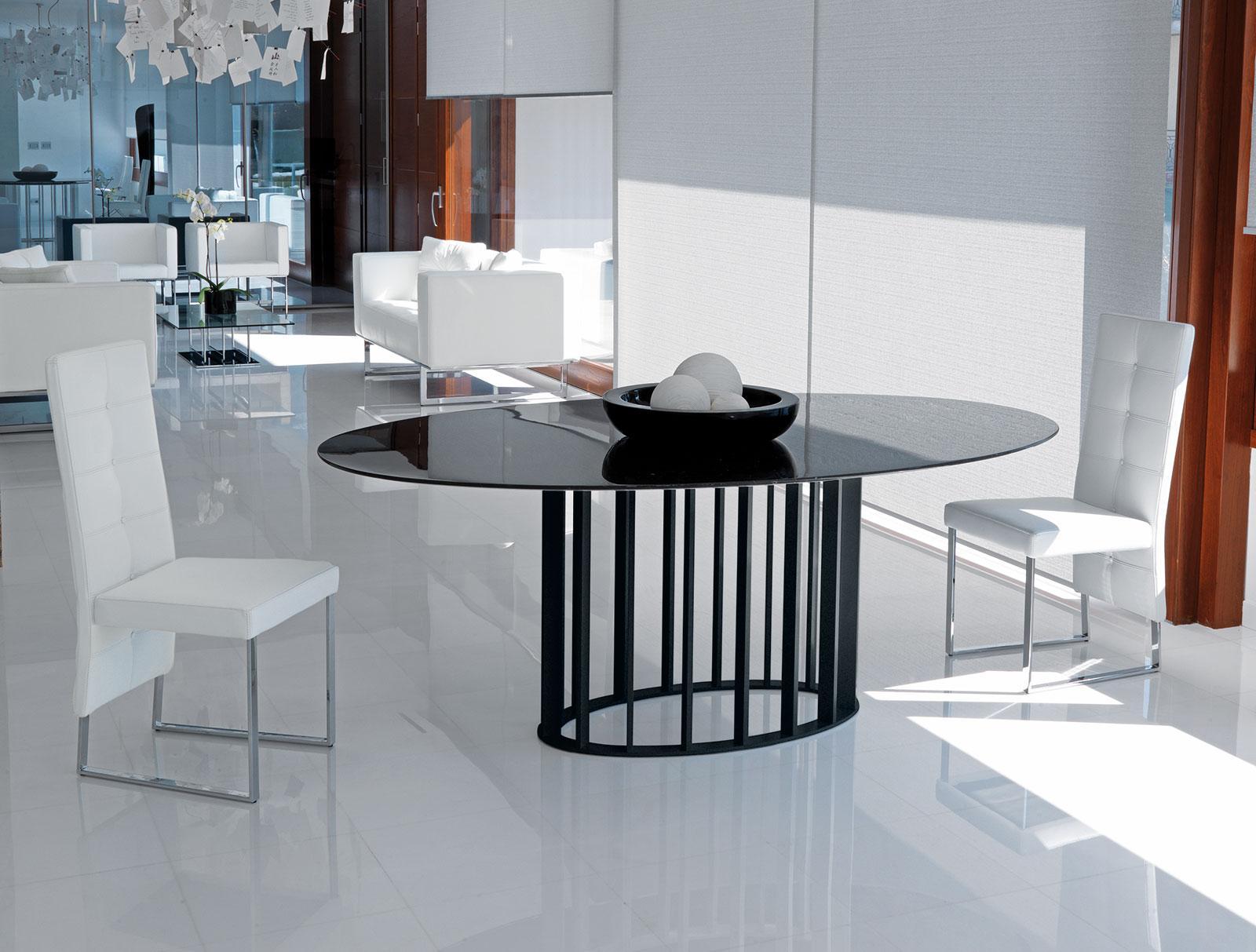 Embassy tavolo ovale vetro e metallo italy dream design for Tavolo ovale allungabile vetro