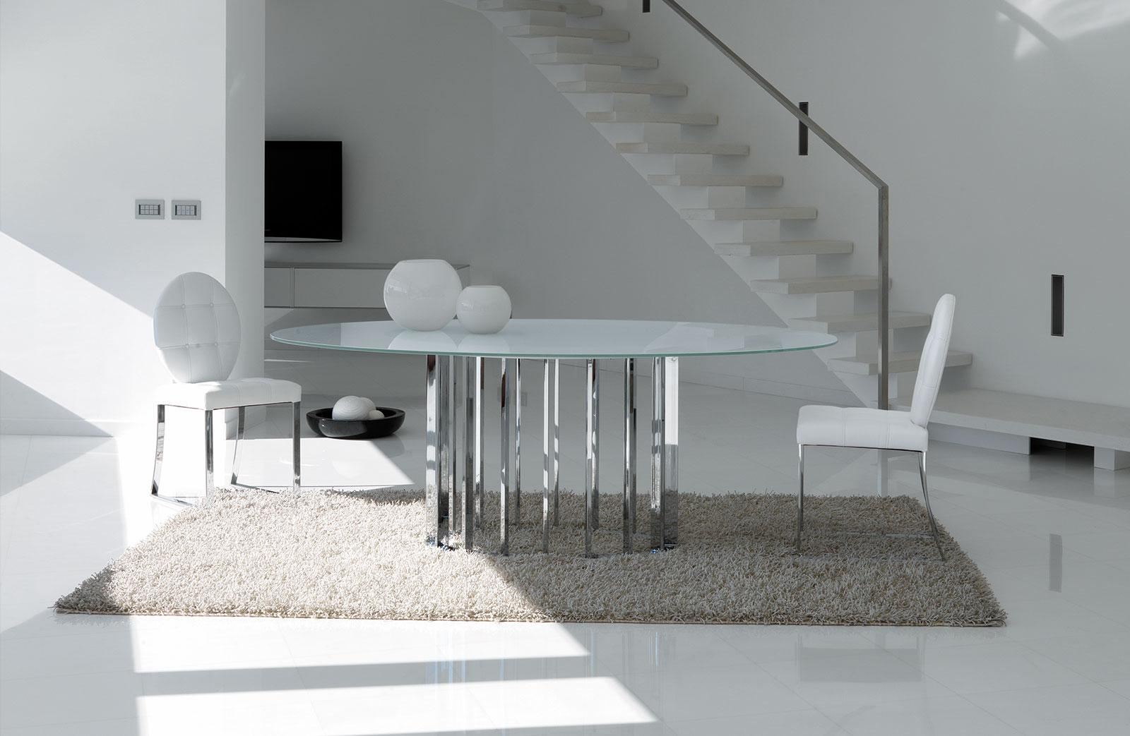 Embassy oval glass metal dining table shop online italy