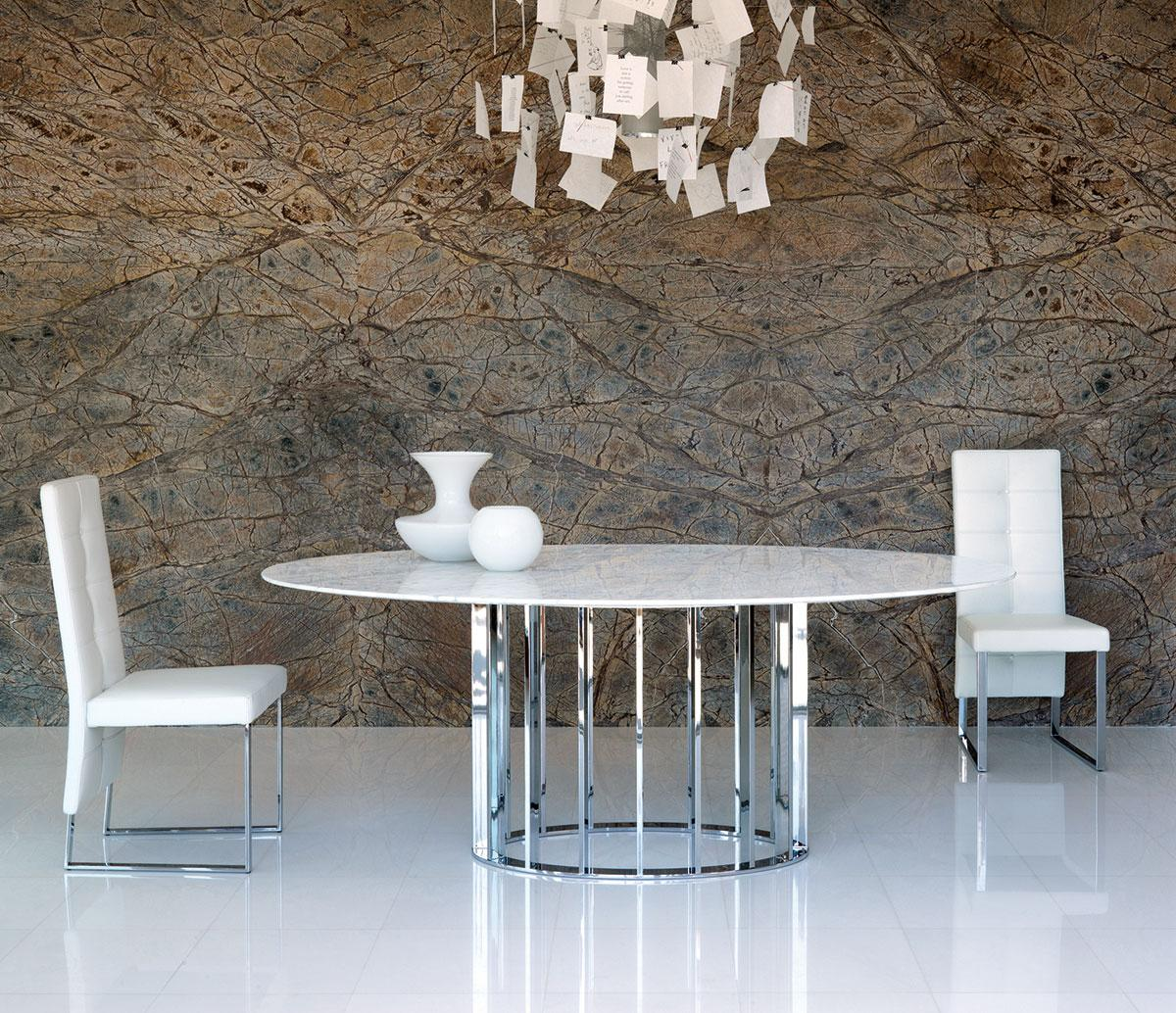 Embassy Oval Table Marble And Metal