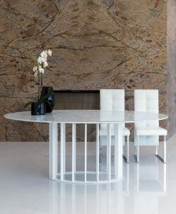 tavolo ovale arredamento casa on line moderno di lusso 2015 design inspiration web made in italy acciaio prezzi marmo Carrara bianco Dark Emperador nero