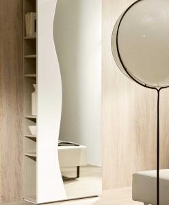 FUTUR Mobile da Ingresso - Placcato frassino laccato bianco e specchio