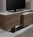 FABIUS Walnut and white glass TV cabinet