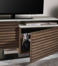 FABIUS Walnut and white glass TV cabinet