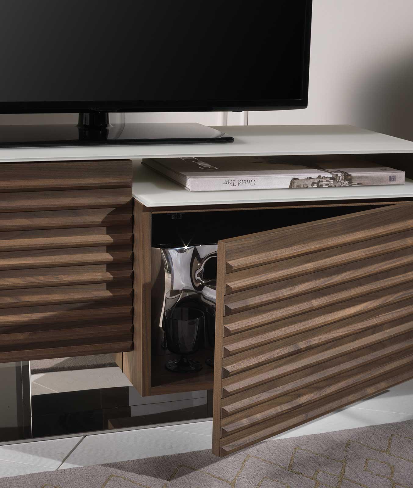 Porta Tv Lcd Vetro.Fabius Walnut And White Glass Tv Cabinet Italy Dream Design