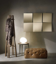Rectangular modular composition of 6 inclined square mirrors. 100% made in Italy. Clear or bronzed glass at choice. Online shopping and home delivery.