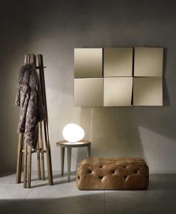 miroir design en verre bronze. Composition de 6 miroirs carrés. Vente en ligne de miroirs haut de gamme made in italy avec livraison gratuite.