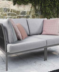 Shop online for exclusive patio furniture. Flare 2 seat garden sofa has a solid grey aluminium frame. Free shipment on luxurious outdoor lounge sets.
