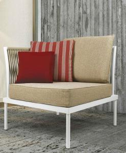 Flare is a corner garden armchair module to create your patio furniture lounge set. Aluminium and Teflon. Cushions included. Shop online with free shipping.