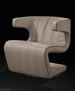 Giuseppe Viganò a dessiné un fauteuil tournant en cuir luxueux et étonnant. Revêtement et coutures peuvent être personnalisés. Livraison à domicile.