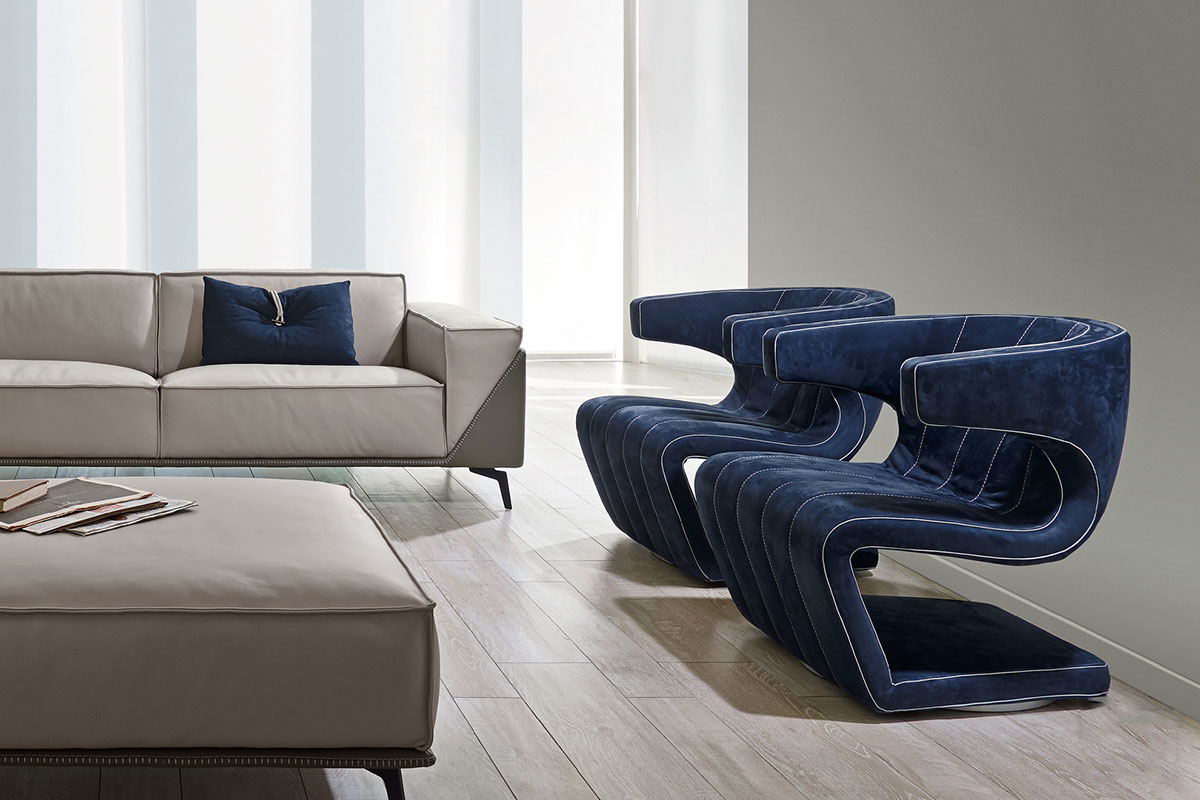 Giuseppe Viganò designed Dean nabuk swivel armchair as an artwork. Luxurious leather, contrasting stitchings for the best interior decoration. Home delivery.