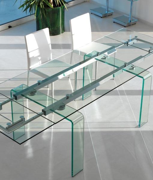 Fortuny tavolo allungabile in vetro curvo - Italy Dream Design