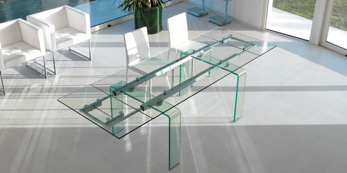 Fortuny table rallonges en verre courb idd Table en verre design