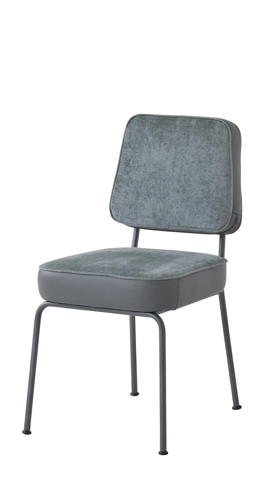 Metal structure. Soft seat and backrest are covered with velvet and soft leather available in several colours. Vintage and classic style padded chair.