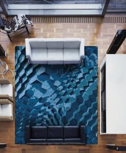 tappeto rettangolare spesso annodato a mano grande geometrico lavabile moderno morbido misura lana texture turchese