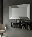 Rectangular mirror with ceramic inlays. Horizontal or vertical arrangement. lay on the wall or on the ground. Design Andrea Lucatello. Home delivery.