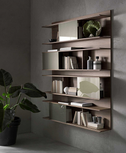 HUGO Wall bookcase in Walnut stained ash with sliding doors in matt bronze glass.