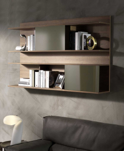 HUGO Wall bookcase Walnut stained ash with sliding doors in matt bronze glass.
