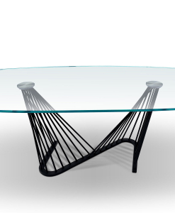 Harp oval table with clear glass top and anthracite grey metal base
