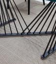 Harp table en métal laqué gris anthracite et verre transparent extra clair