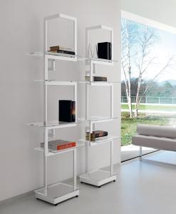 arredamento casa ufficio on line moderno di lusso 2015 design inspiration web made in italy libreria biblioteca metallo cromato mensole vetro temperato