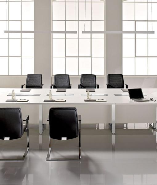 Meet tavolo da riunione rettangolare in legno e vetro 480×160