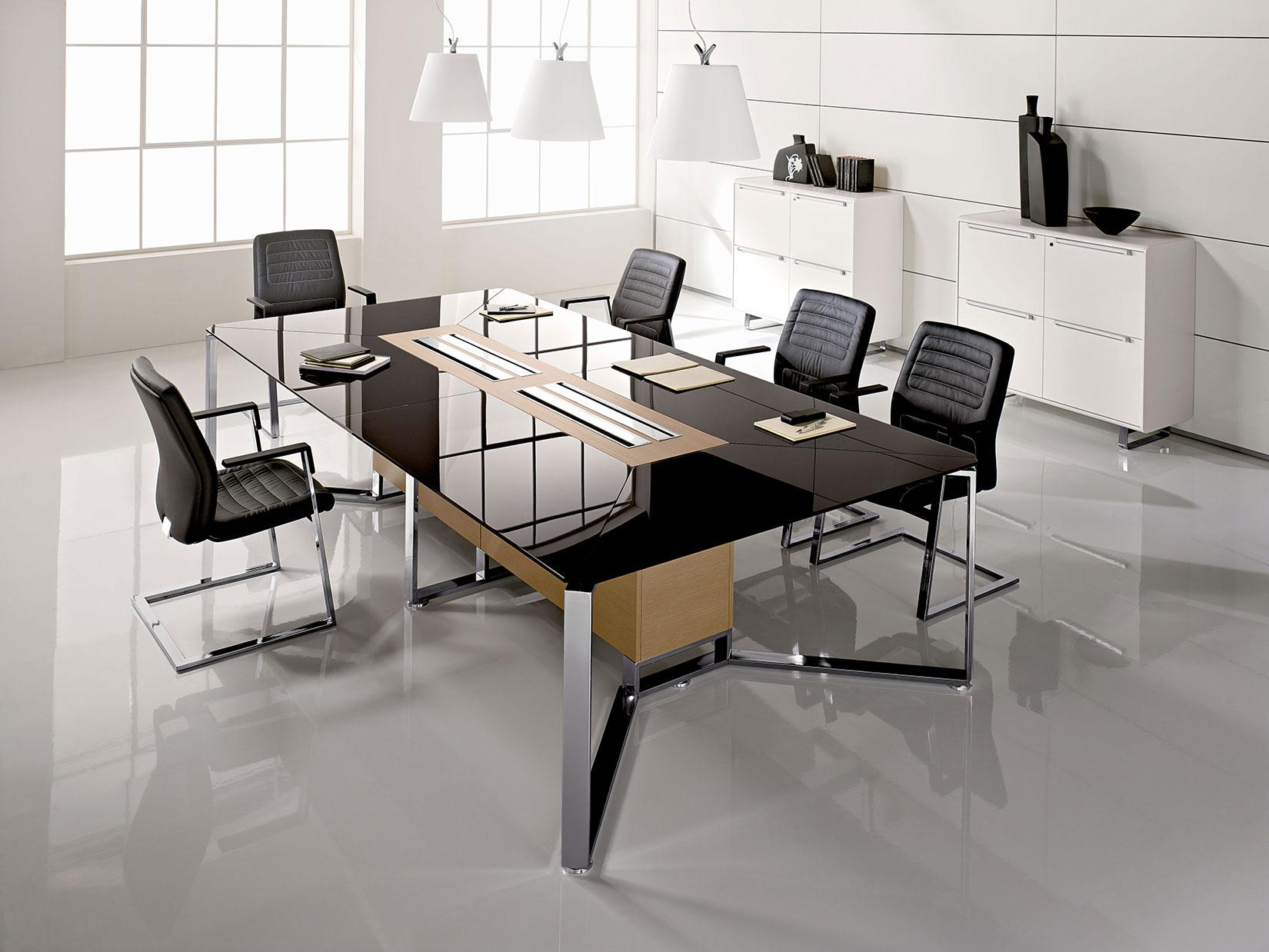 Meet rectangular meeting table in crystal and wood