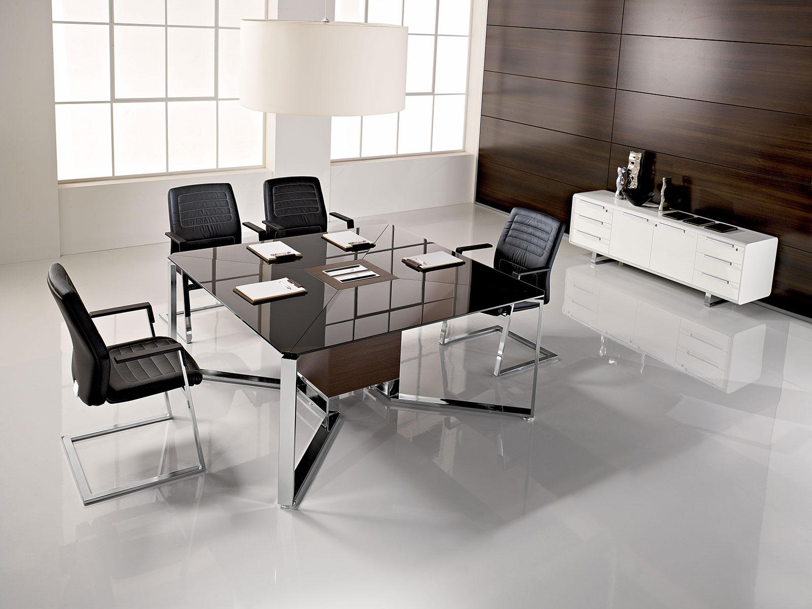 meet tavolo da riunione quadrato in legno e vetro italy On tavolo ufficio quadrato