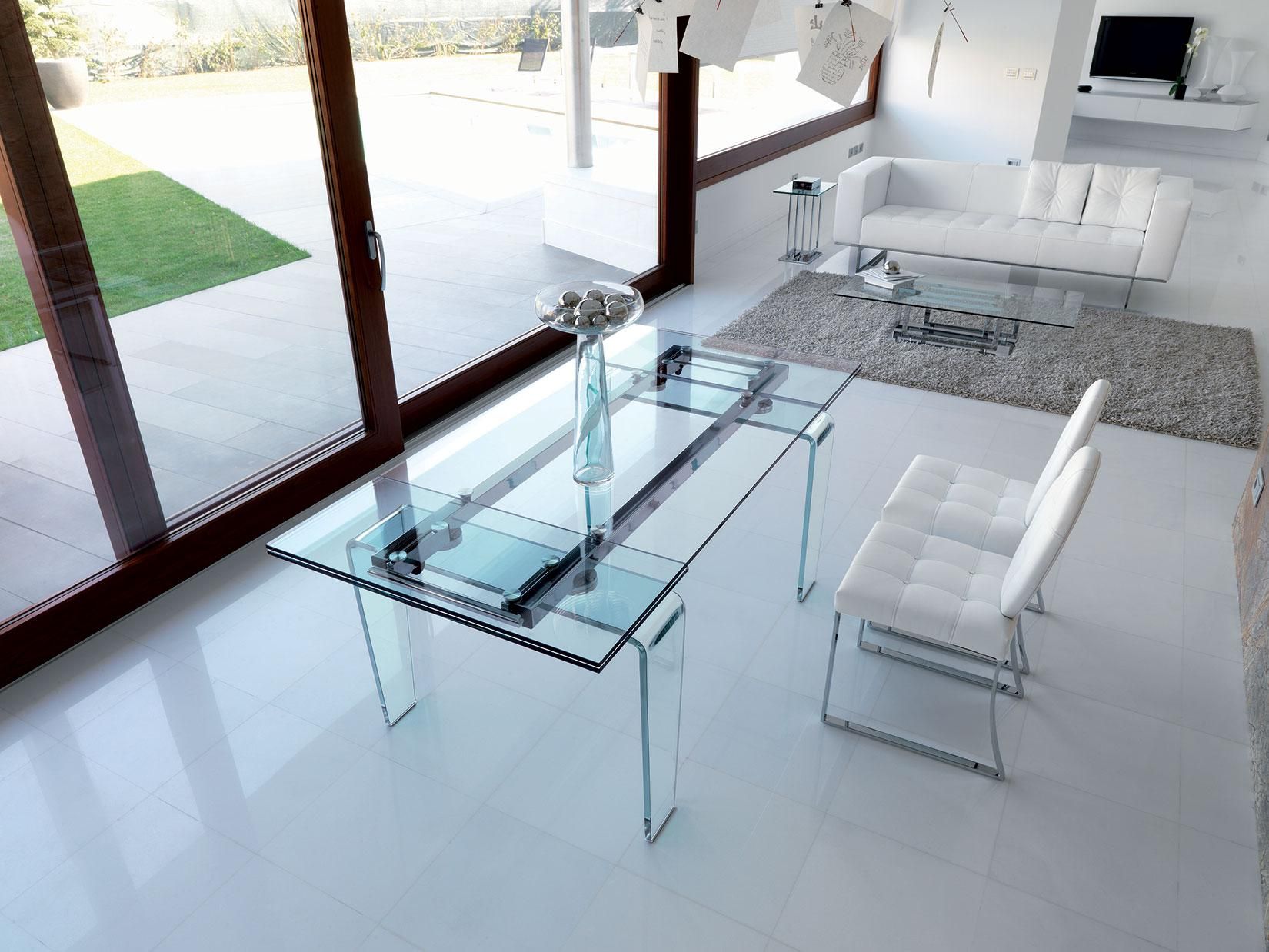 Ghost extensible glass table shop online italy dream design ghost glass extensible table geotapseo Image collections