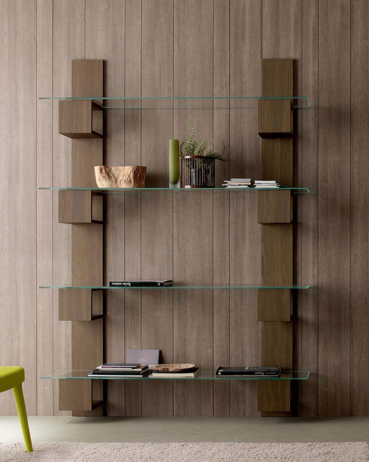 infinity biblioth que en bois et verre idd. Black Bedroom Furniture Sets. Home Design Ideas