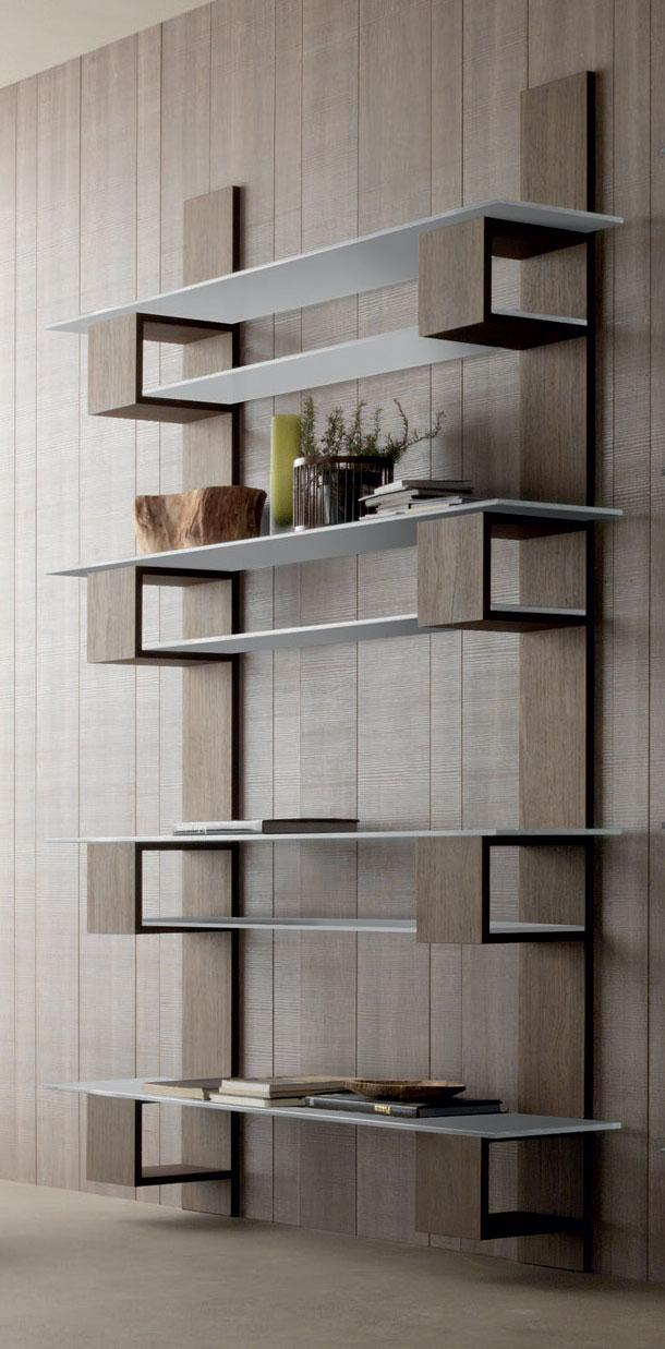 Infinity Luxury and Elegant Vertical Bookcase in Wood and Glass
