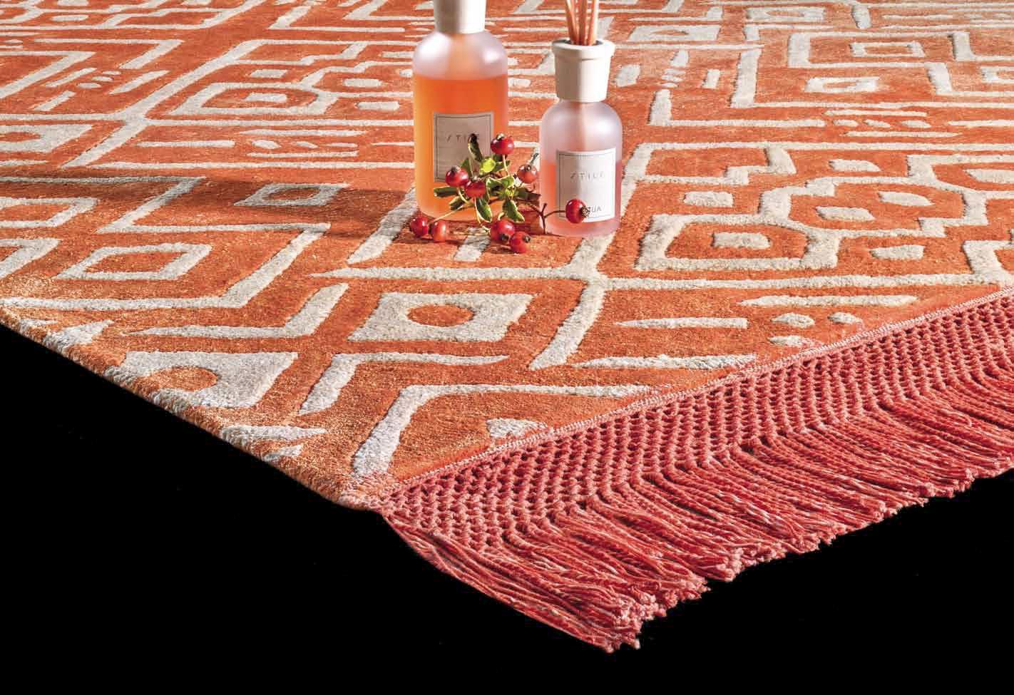 tappeto rettangolare arancione fucsia colorato grande geometrico lavabile moderno morbido misura dimensioni seta