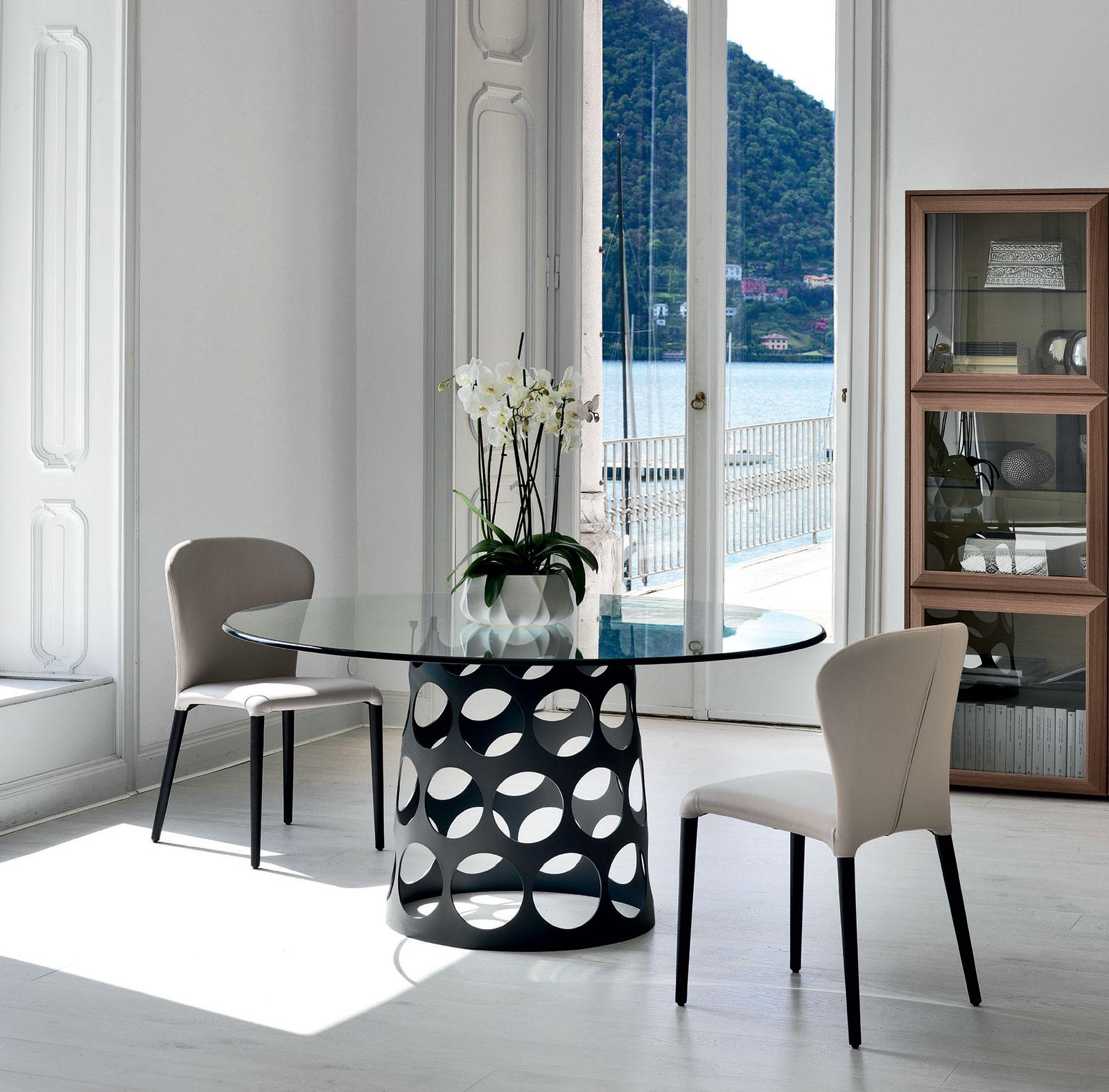 Jean Tondo tavolo da pranzo rotondo in vetro e metallo - Italy Dream ...