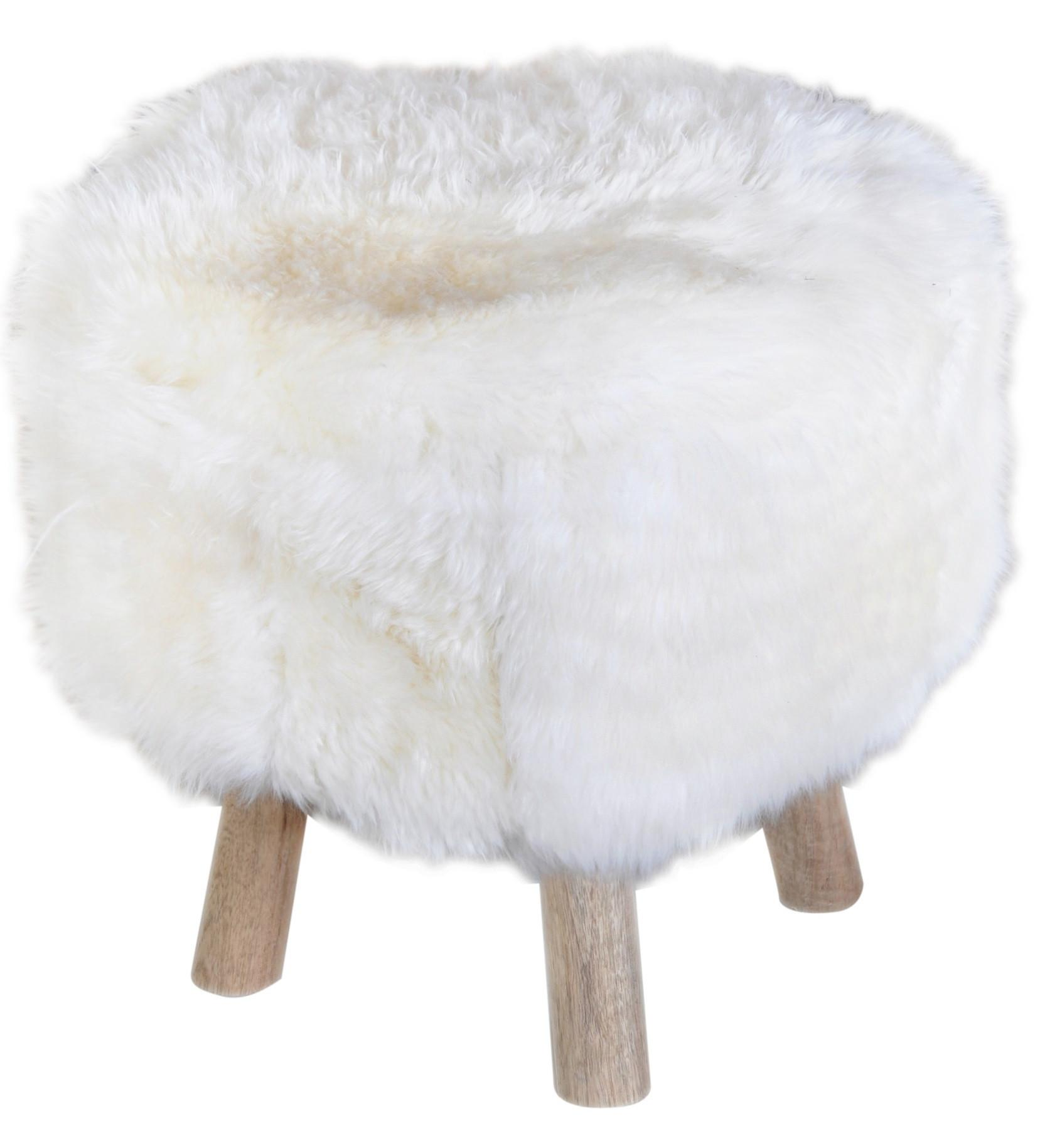 sheep hide covering made in italy luxury winter seat pouf puff
