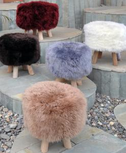 pouf made in italy puff peau de mouton assise cuir peau taupe luxe