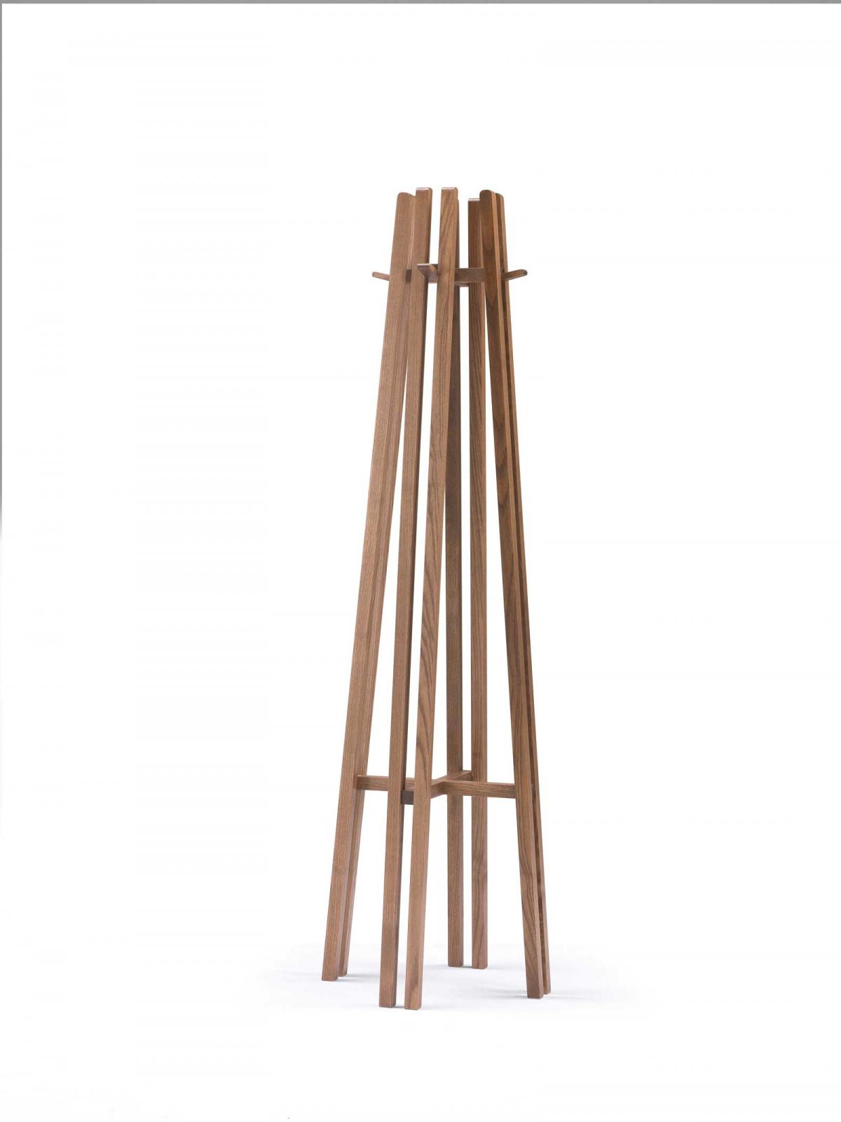 KEN Floor Coat Hanger in solid walnut-stained plywood.