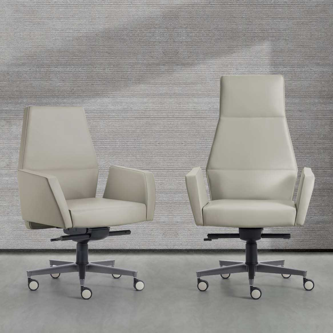 Kefa executive and conference armchairs in white leather, design Matteo Nunziati. Steel frame and polyurethane. 5-star aluminium swivel base. Free delivery. Online shopping