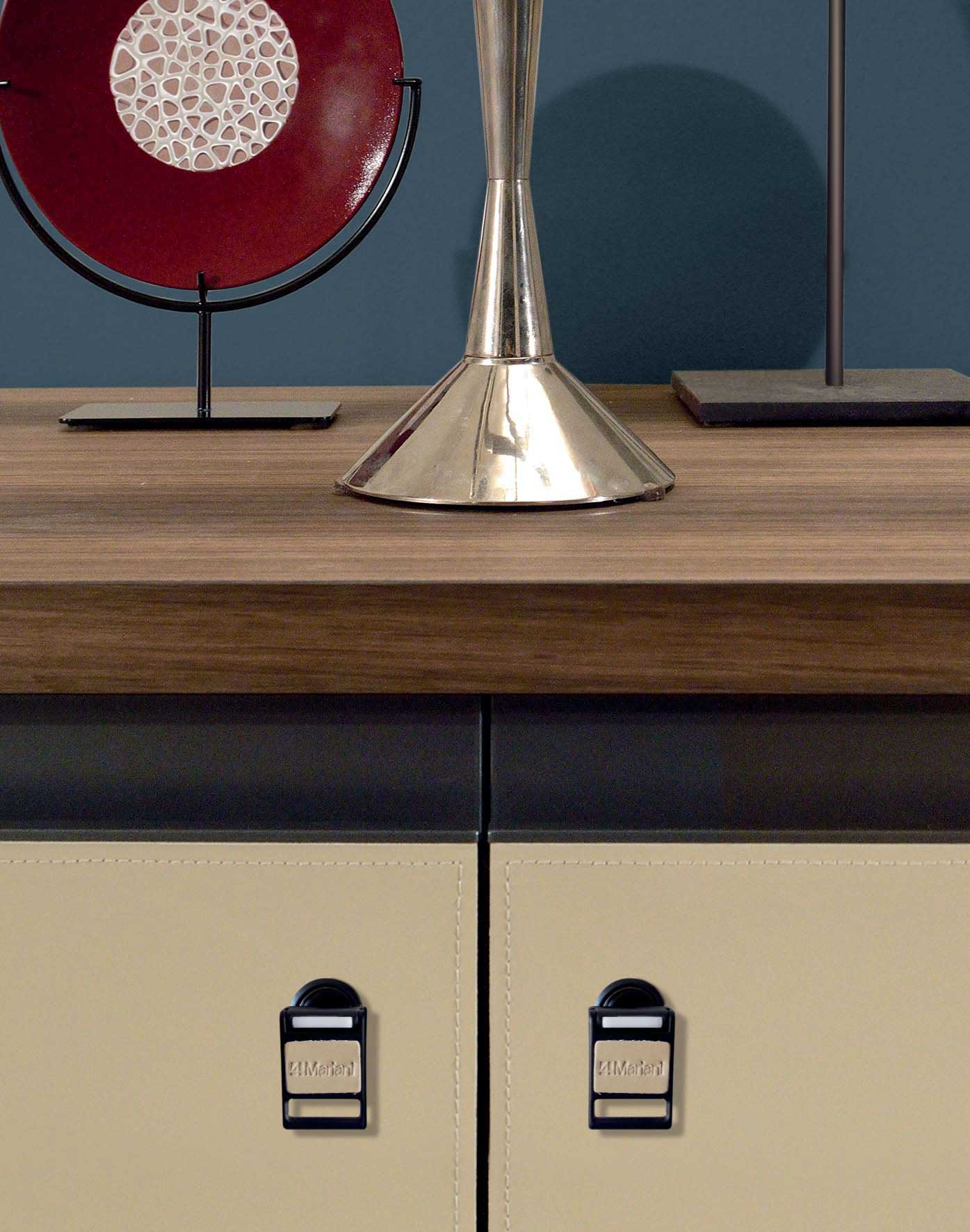 Kefa 4 doors low cabinet is perfect at home as at the office. Design Matteo Nunziati. Eucalyptus wood and saddle leather finishing. Free home delivery.