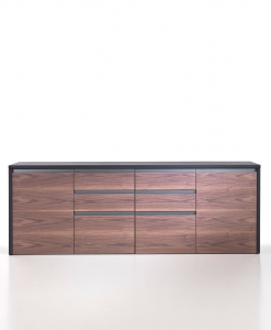 The 4 units low cabinet in walnut and leather is part of the Kefa collection by Matteo Nunziati for the office and is also perfect for an exclusive home.