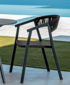 Charcoal grey and black are the dark colours of this beautiful outdoor armchair perfect for a dining table. Luxurious furniture with home delivery.