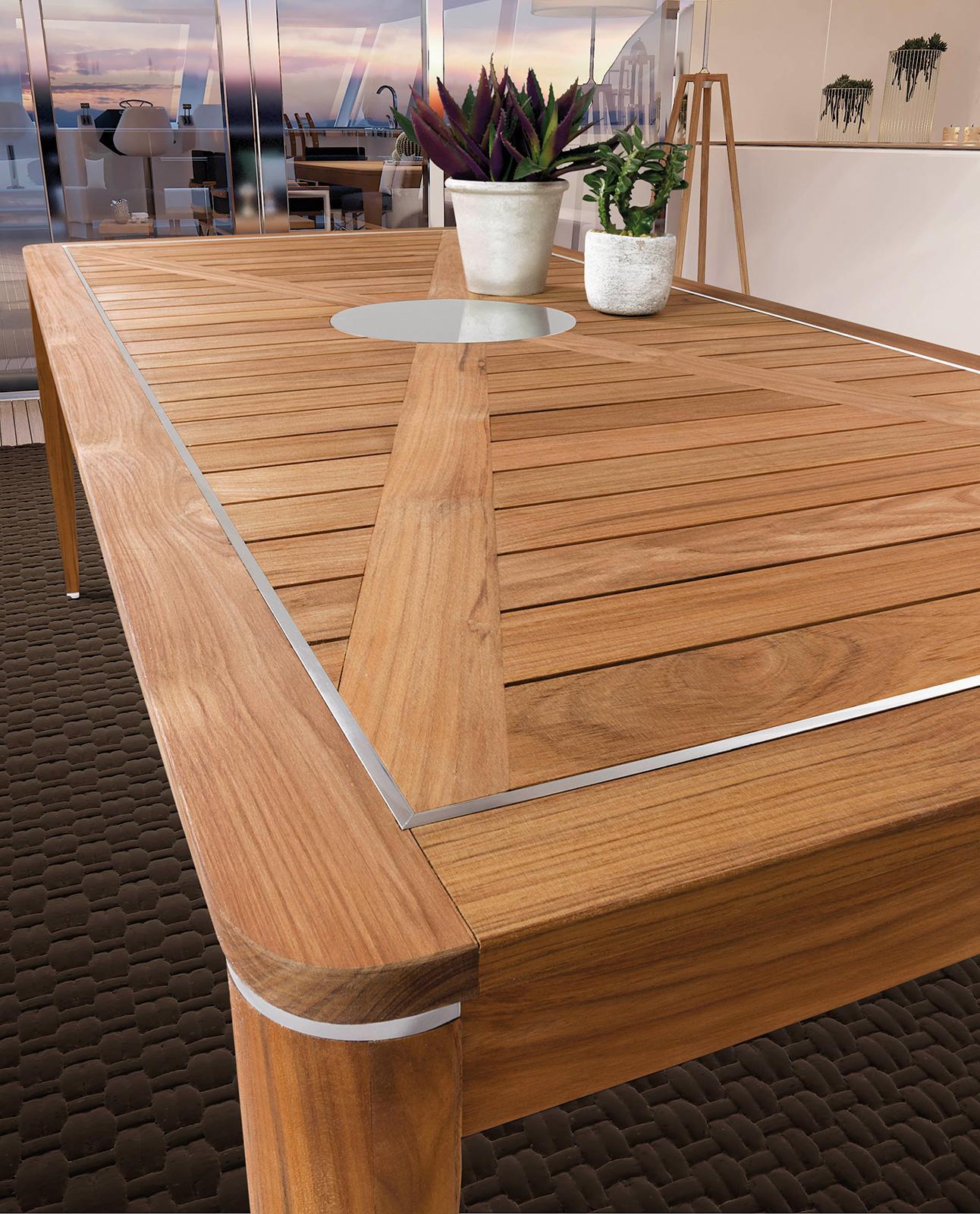 Luxury tavolo da esterno in teak ed acciaio - Italy Dream Design