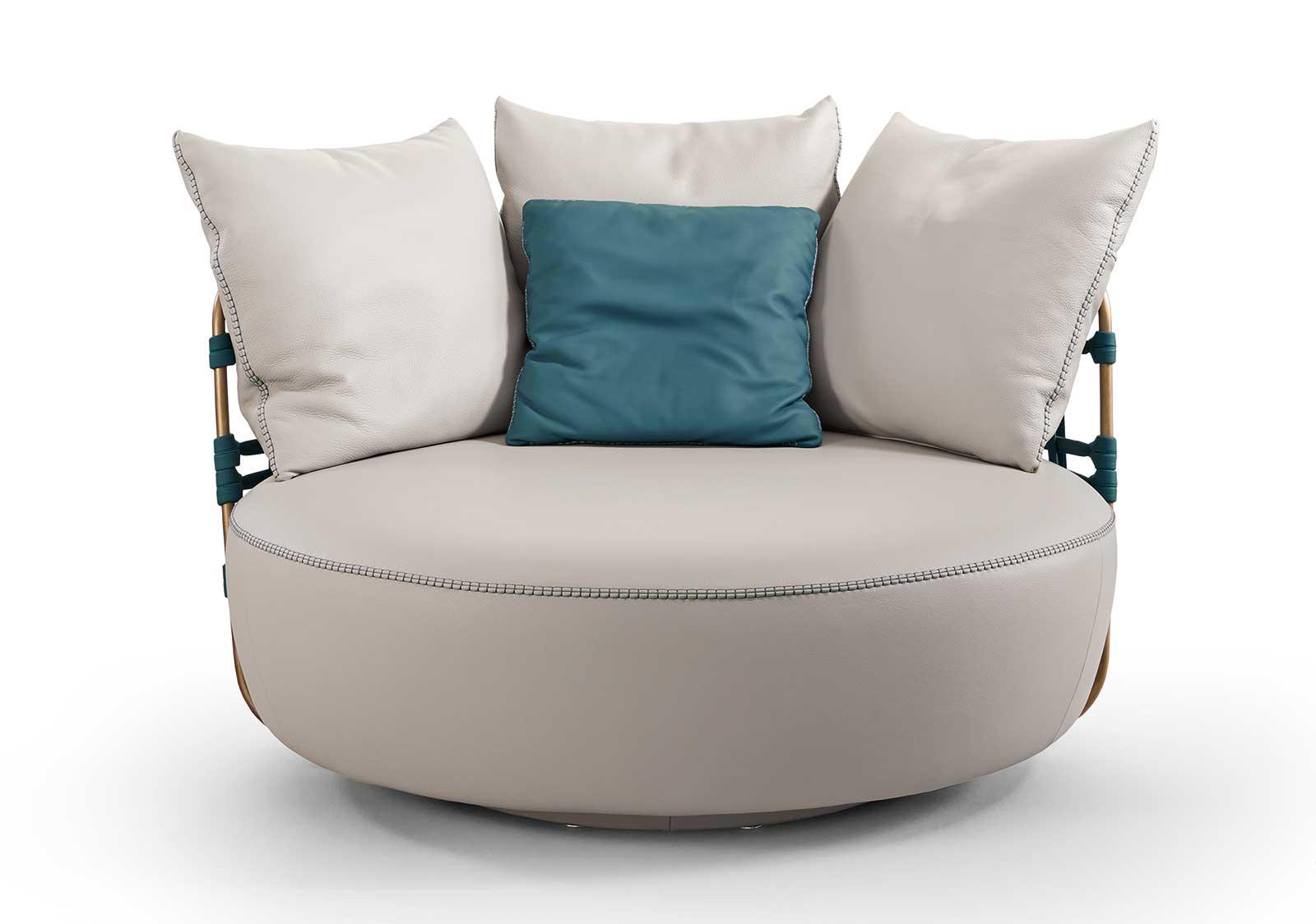 Fauteuil tournant en cuir et métal très original. Fabrication artisanale made in italy. Vente en ligne de meubles hauts de gamme design avec livraison gratuite.