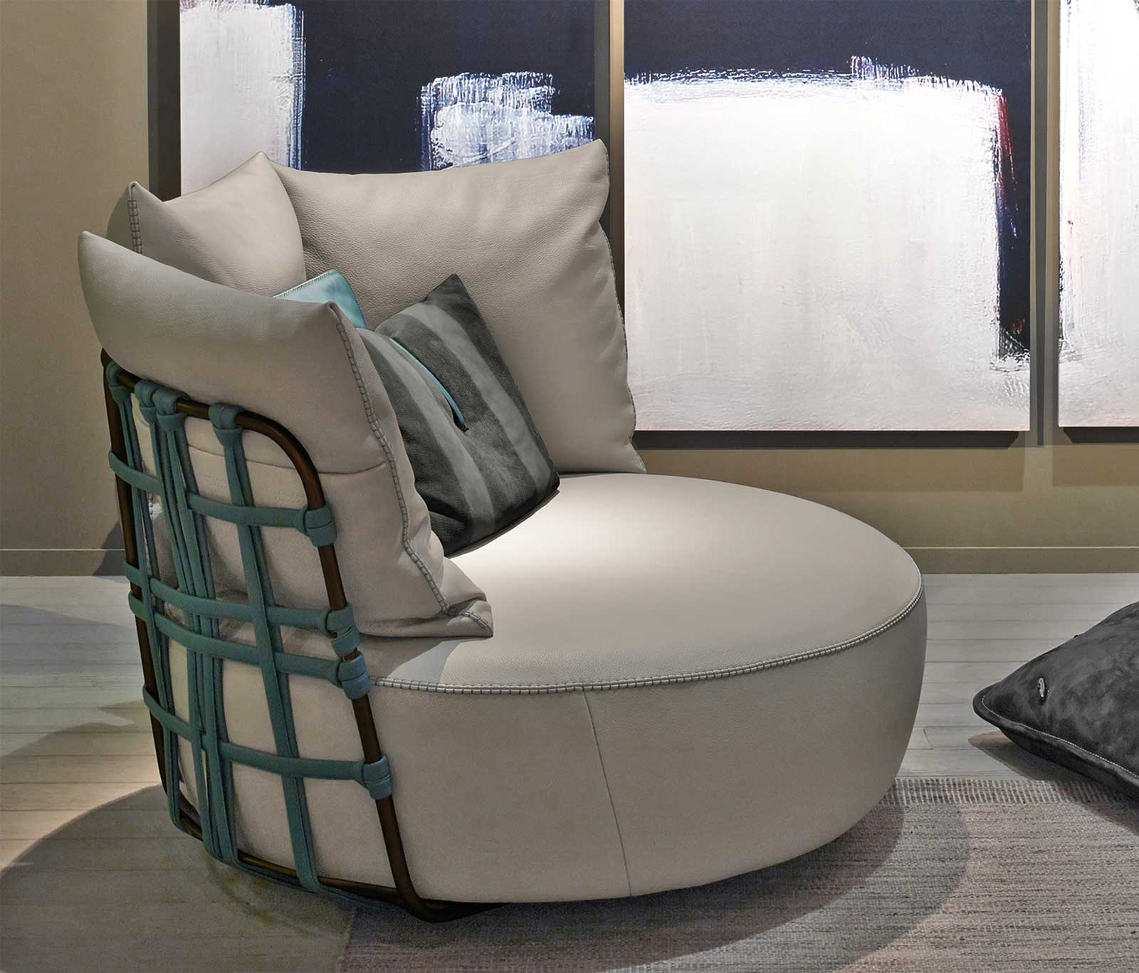 LOVE leather swivel armchair