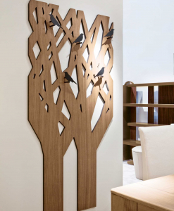 Tree entrance furniture with hooks in black metal in the shape of birds