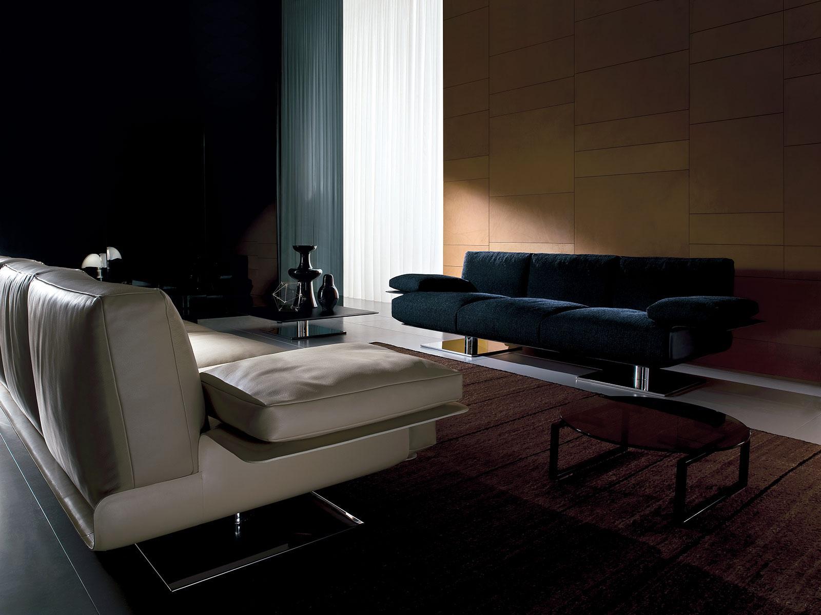 Landing Steel Base Luxury Leather Sofa