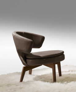 Larissa small armchair in brown leather has a walnut base and can be shipped for free. Ideal for use at home or in a luxurious office. Online shopping