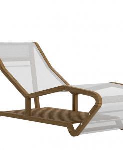 Chaise longue d'extérieur haut de gamme. Teak acier et textilène. Vente en ligne de mobilier de luxe pour jardins et terrasses.