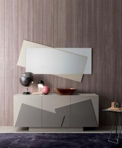 madia moderna in legno mobile alta bianca made in italy MDf lucido 3 ante originale