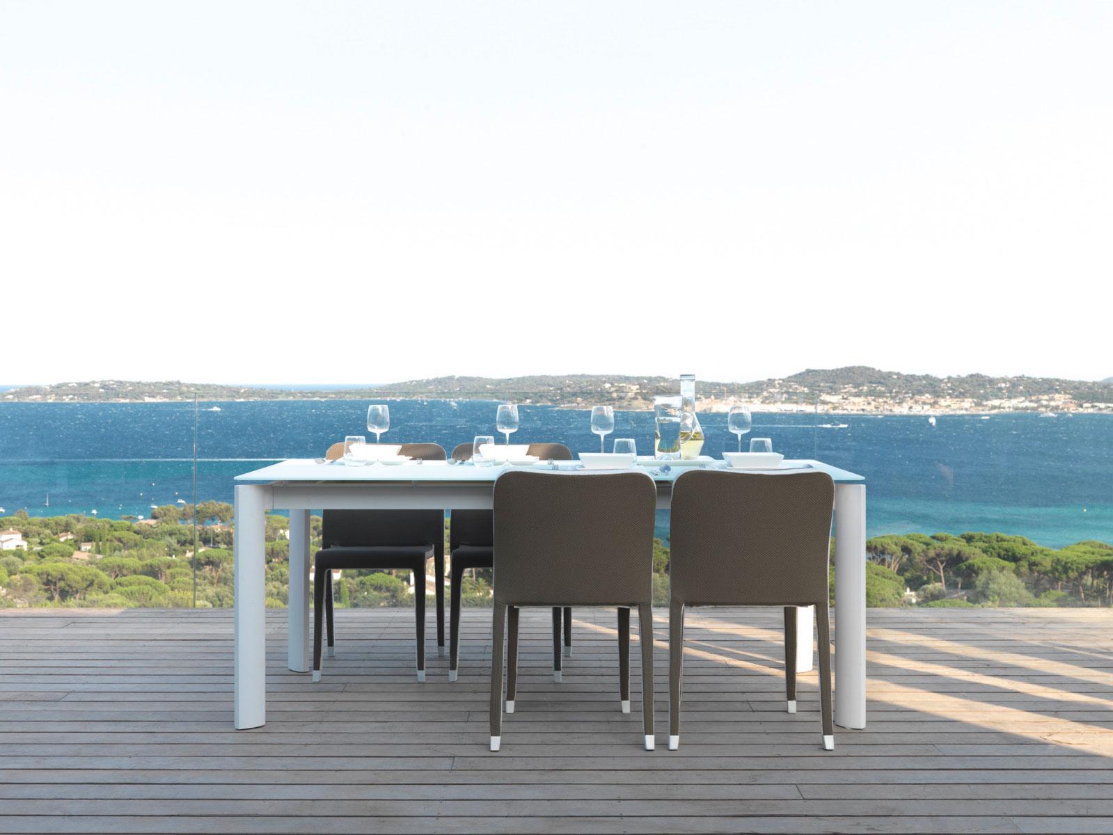 table de repas rallonges à rallonge extensible ameublement design haut de gamme jardin luxe moderne en ligne contemporainssite italiens qualité aluminium