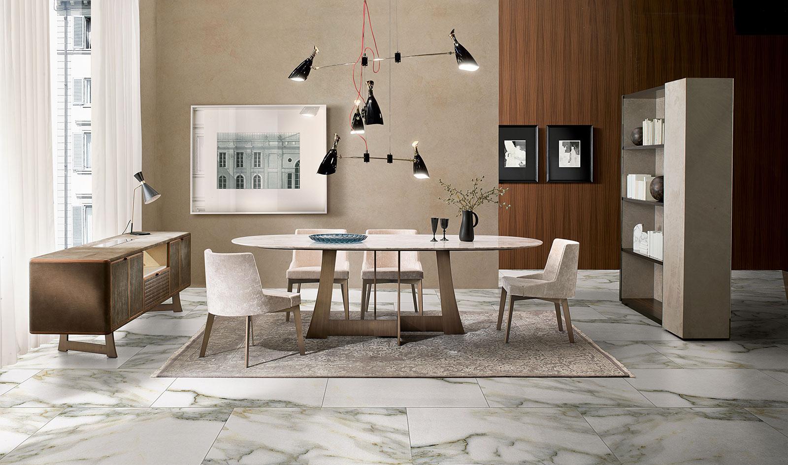 Tavolo da pranzo ovale in marmo. Design Umberto Asnago. Fabbricazione made in Italy. Vendita online di arredamento di lusso. Consegna gratuita.