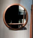 Specchio rotondo in noce canaletto (cornice in massello) design Stefano Bigi. Mensola porta oggetti. Produzione 100% made in Italy. Consegna gratuita.